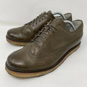 Tsubo Hesperia Brown Leather Crepe Wingtip Mens 10